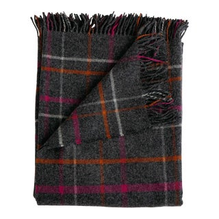 Merino Lambswool Patterned Throw in Ledge Plaid Multi For Sale