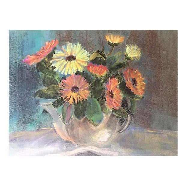 Pastel Floral Still Life by Eleanor De Haas For Sale