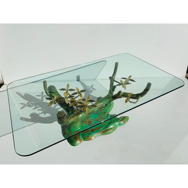 """Willy Daro brass bonsai tree coffee table base in verdigris patina. Glass top shown is half inch thick, 50"""" x 30"""" and not..."""