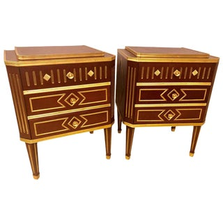 Mahogany Russian Neoclassical Three-Drawer End Tables or Nightstands - a Pair For Sale