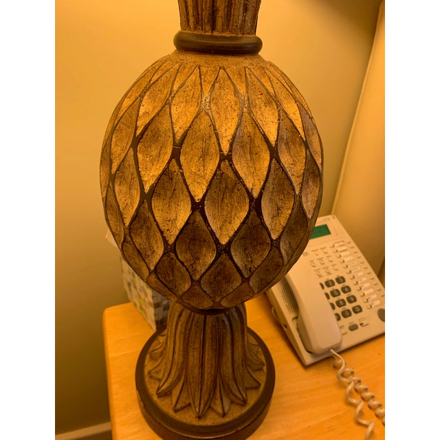 2000 - 2009 Beige and Brown Carved Wooden Table Lamps - a Pair For Sale - Image 5 of 12