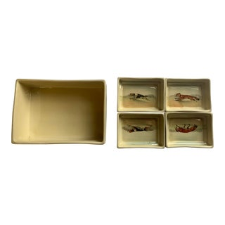 Vintage Early 20th Century Royal Doulton Fox Hunt Scene Cigarette Box and Ashtrays - 5 Piece Set For Sale