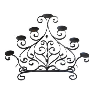 Spanish Style Forged Wrought Iron Floor Candelabra 7 Candle Holder For Sale