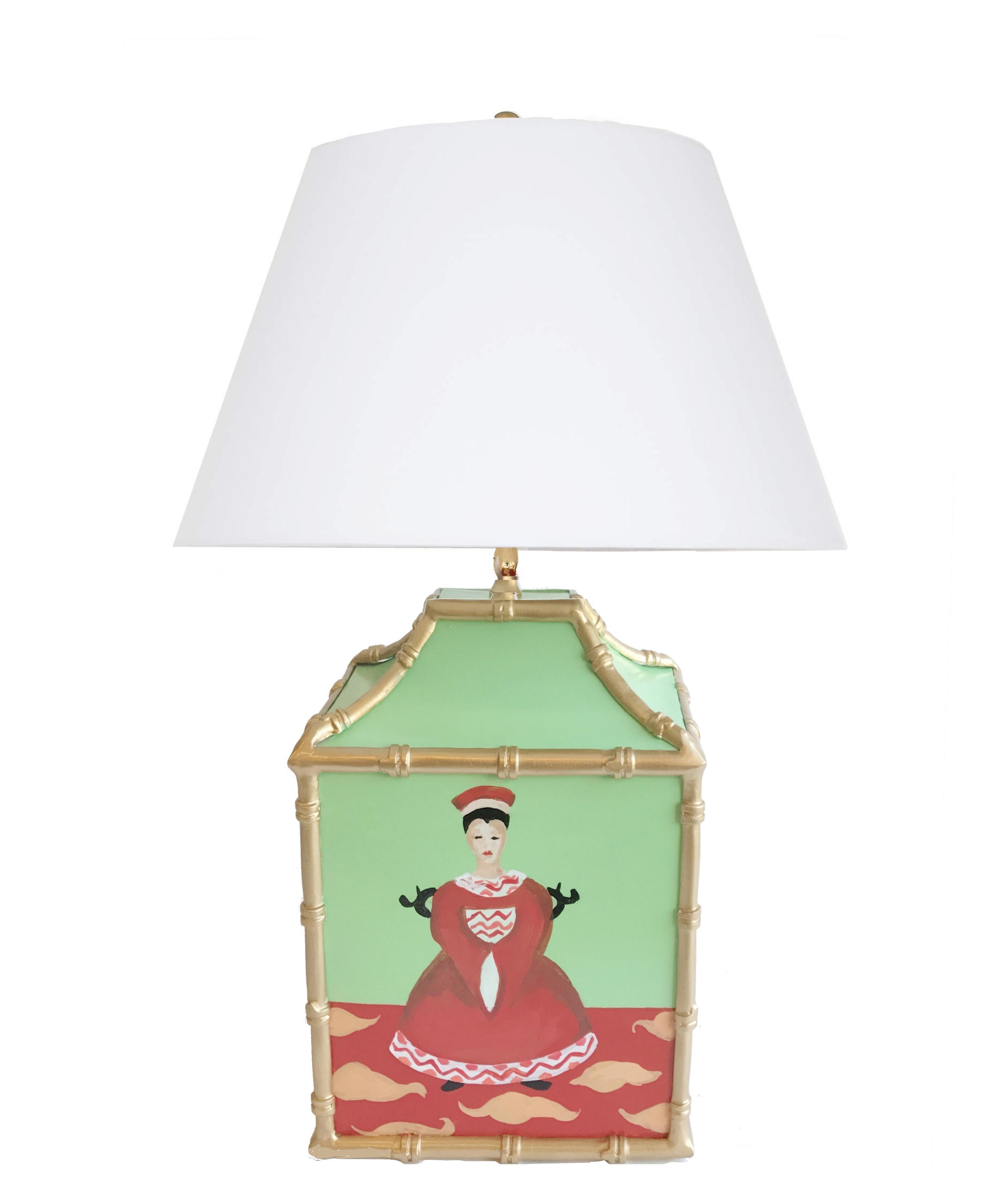 Charming Dana Gibson Custom Painted Pagoda Lamps   A Pair   Image 3 Of 3