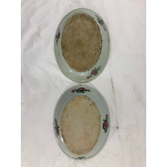 Antique Rose Medialion Oval Plates on Stands - a Pair For Sale - Image 9 of 11
