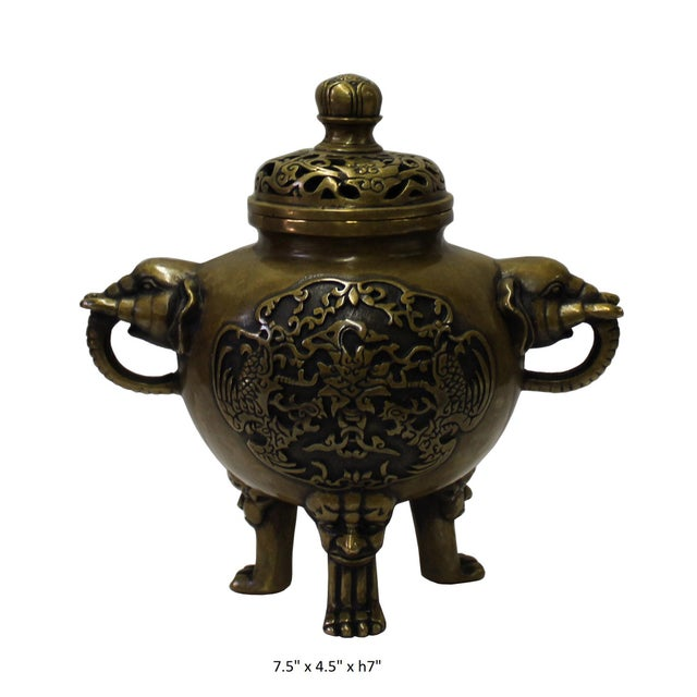 Chinese Oriental Fine Bronze Metal Incense Burner Display For Sale In San Francisco - Image 6 of 6