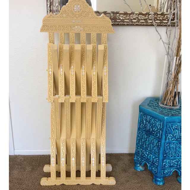 Tan Moroccan Style Hand Carved With Touch of Mother of Pearl Inlay Folding Chair For Sale - Image 8 of 9