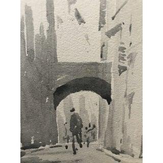 1920s European Cityscape Black & White Watercolor Painting