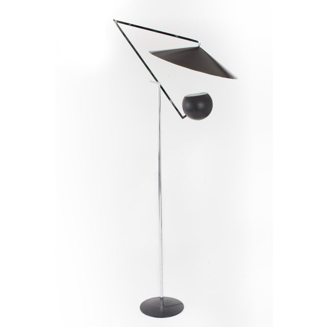 Art Deco 1960s Vintage Robert Sonneman Architectural Chrome and Black Articulated Floor Lamp For Sale - Image 3 of 7