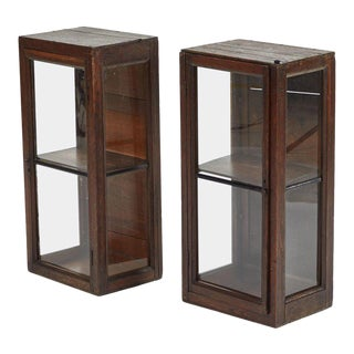 19th Century Wood Display Cabinets - a Pair For Sale
