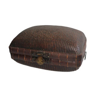 Antique Chinese Woven Trunk For Sale