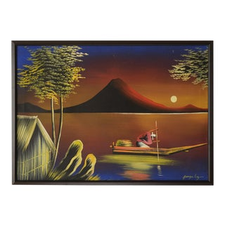 """Mid 20th Century """"Tropical Seafarer at Moonlight"""" Landscape Painting, Framed For Sale"""