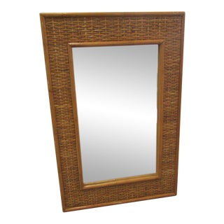 Island Style Woven Rattan Mirror For Sale