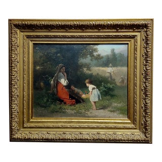 "19th Century Dutch ""Flowers for the Baby"" Oil Painting by Karel Frans Philippeau For Sale"