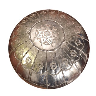 Full Arch Silver Moroccan Pouf Ottoman For Sale