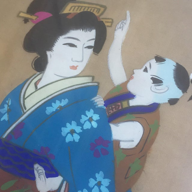 Asian Vintage Geisha Japanese Silk Painting For Sale - Image 3 of 7