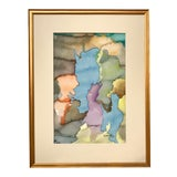 Image of Vintage Mid Century Watercolor Abstract Painting by Saal For Sale