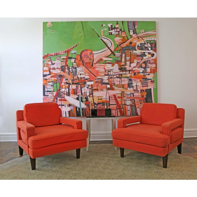 Orange Mid-Century Modern Edward Wormley for Dunbar Club Chairs - a Pair For Sale - Image 8 of 8