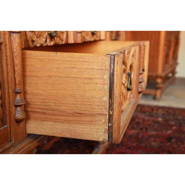 Antique Spanish Revival Oak Sideboard Buffet - Image 8 of 8