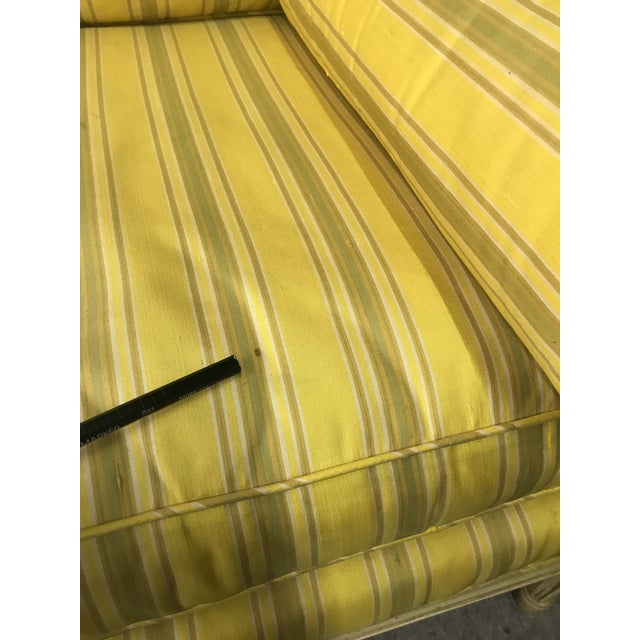 Yellow Bright Yellow & Green Stripe French Directoire Louis XVI Settee Loveseat For Sale - Image 8 of 13