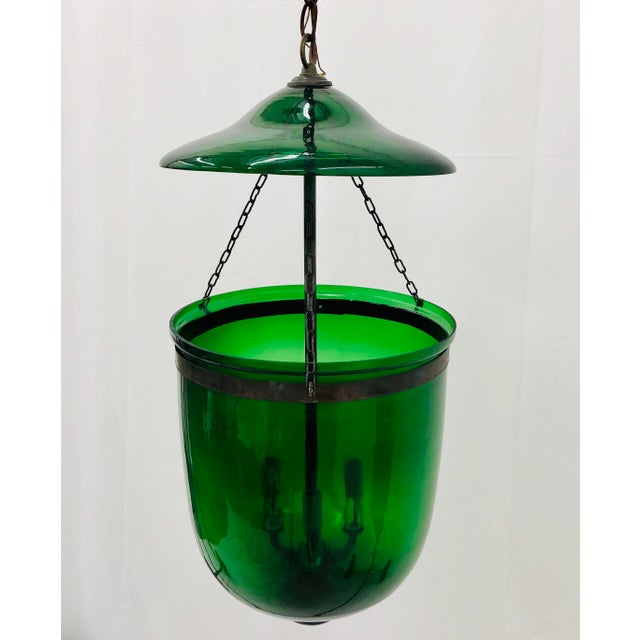 Traditional Green Glass Bell Jar Pendant For Sale In Raleigh - Image 6 of 13