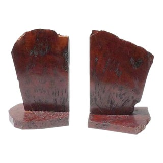 Vintage Redwood Slab Live Edge Book Ends- 2 pc