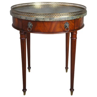 Maitland Smith Flame Mahogany Louis XVI Tessilated Marble Bouillotte Side Table For Sale