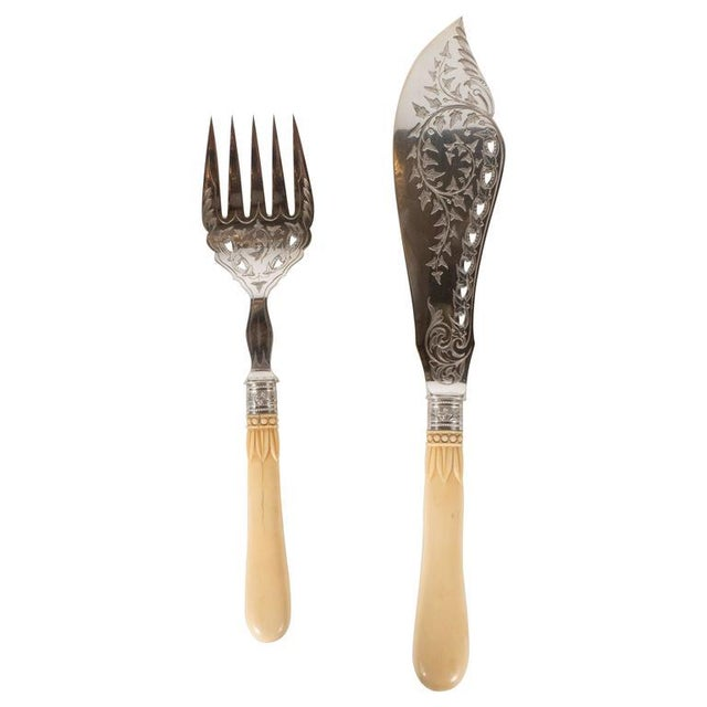 Silver Plate Victorian Fish Set With Bone Handles and Chased Foliate Patterns For Sale - Image 11 of 11