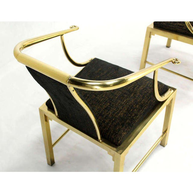Pair of outstanding heavy brass barrel back chairs by Mastercraft newly upholstered in Kravet fabric.