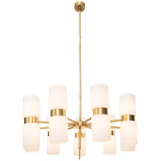 Brass and Opaline Glass Chandelier by Hans Agne Jakobsson For Sale