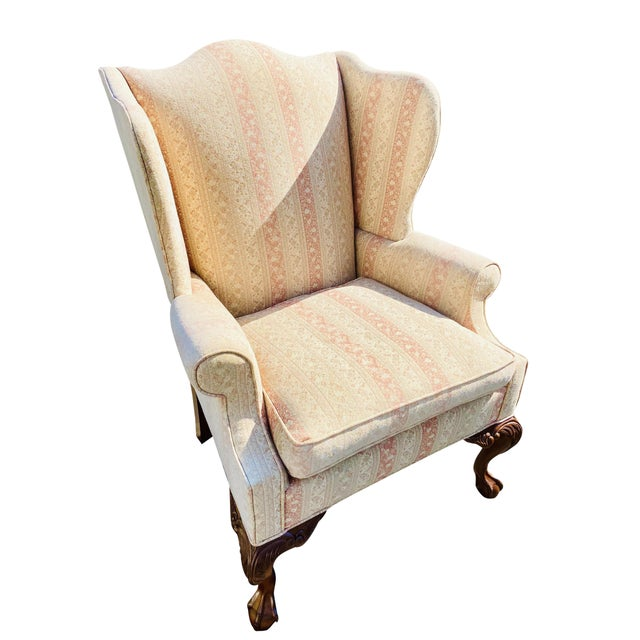 Antique White Hickory Chair Company English Style Wingback Chair For Sale - Image 8 of 8