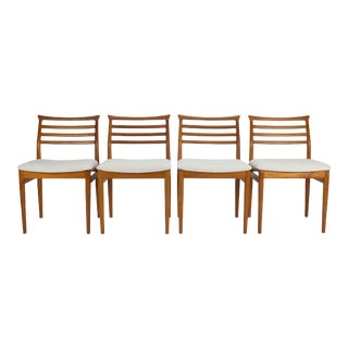 1950s Vintage Teak Dining Chairs by Erling Torvits- Set of 4 For Sale