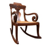 Image of Late 19th Century Antique Empire Style Burl Wood Rocking Chair For Sale