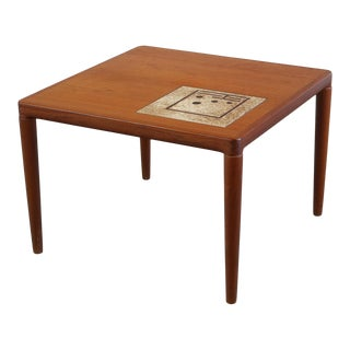 Teak End Table/Side Table with Tile Inlay by HW Klein for Bramin For Sale