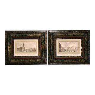 Pair of 19th Century Italian Florence Engravings in Ornate Églomisé Frames For Sale