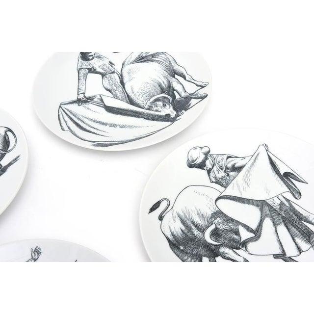 Fornasetti Vintage Italian Piero Fornasetti Porcelain Bullfight Dinner Plates - Set of 6 For Sale - Image 4 of 11