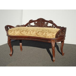 Vintage French Country Low Profile Ly Carved Gold Settee Bench Preview