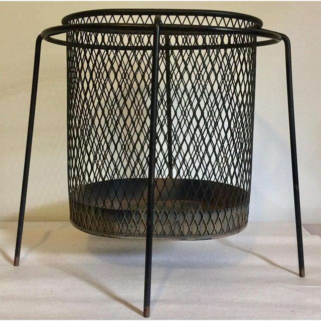 Iron Mid-Century Maurice Duchin Iron Mesh Wastebasket For Sale - Image 7 of 7