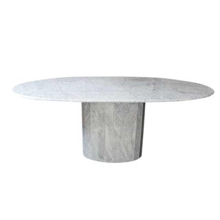 20th Century Hollywood Regency Oval Carrara Marble Pedestal Dining Table For Sale