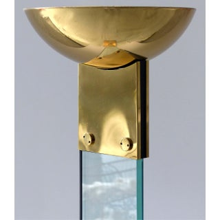 Italian Brass & Glass Mid-Century Torchiere Floor Lamp Preview
