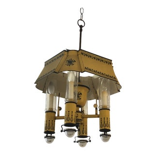 French Iron and Tole Painted 4-Arm Chandelier For Sale