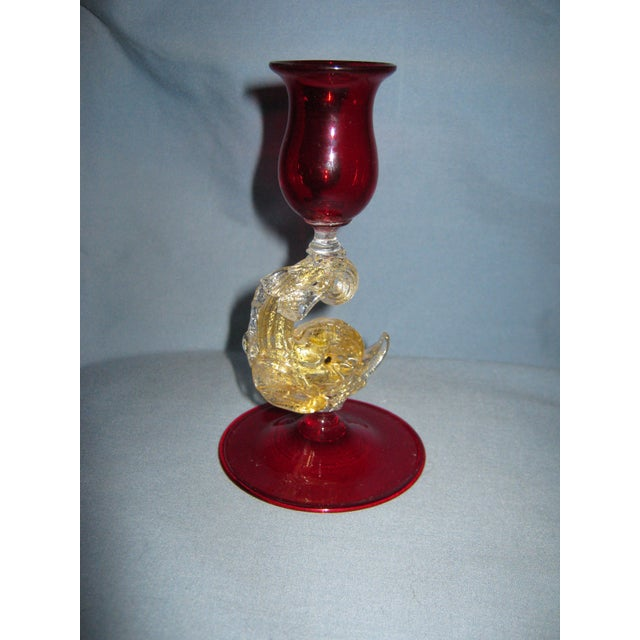 Italian Vintage Venetian Ruby Hand Blown Dolphin Candlestick For Sale - Image 3 of 6