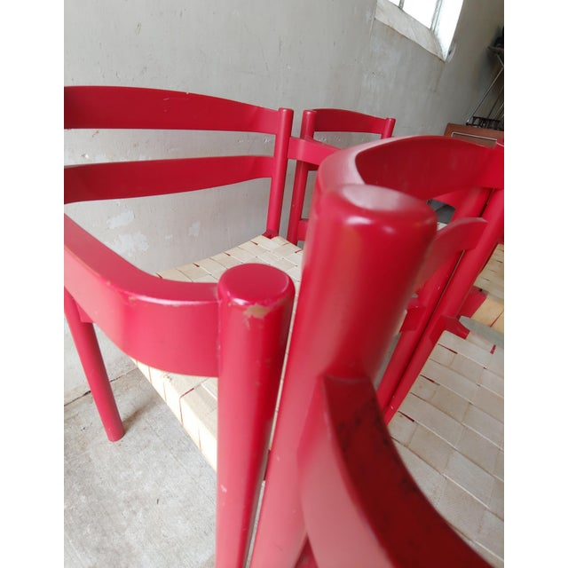 1980s Danish Modern Niels Jorgen Haugesen Red Dining Chairs - Set of 4 For Sale - Image 10 of 13