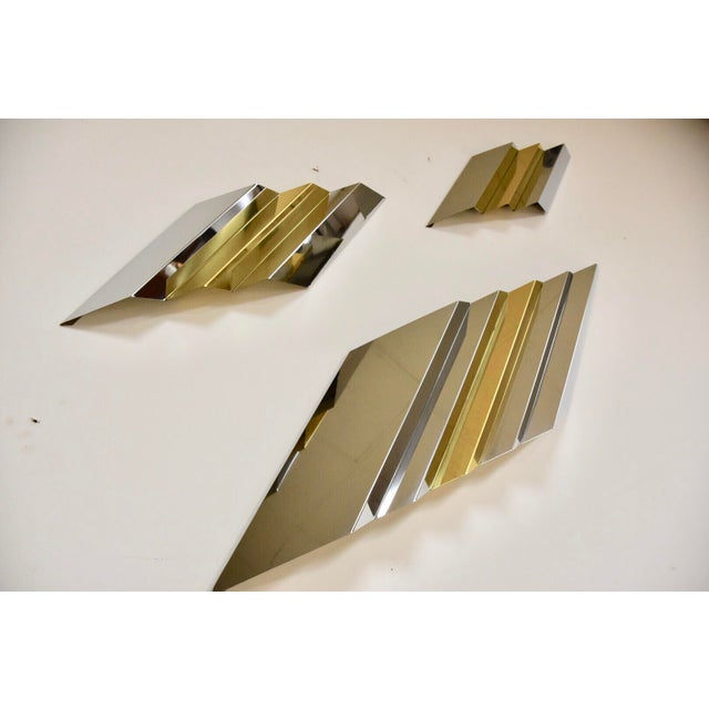 Gold Modern Chrome and Brass Wall Art For Sale - Image 8 of 9