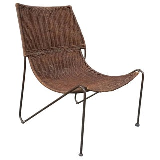 1960s Mid-Century Modern Woven Rattan and Wrought Iron Slipper Lounge Chair