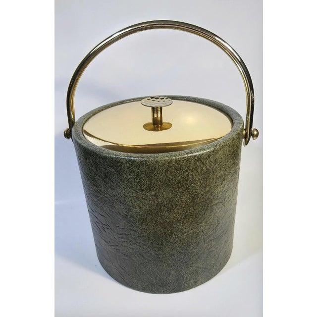 Mid-Century Modern 1960s Mid-Century Modern Green & Gold Ice Bucket For Sale - Image 3 of 9