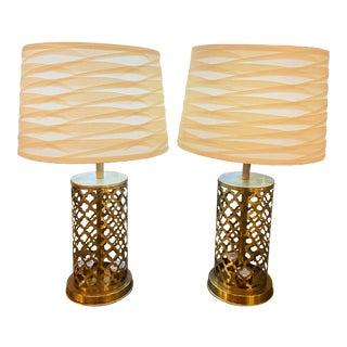 Modern Moroccan Handmade Gold Brass Table Lamp Bottom & Upper Light - a Pair For Sale