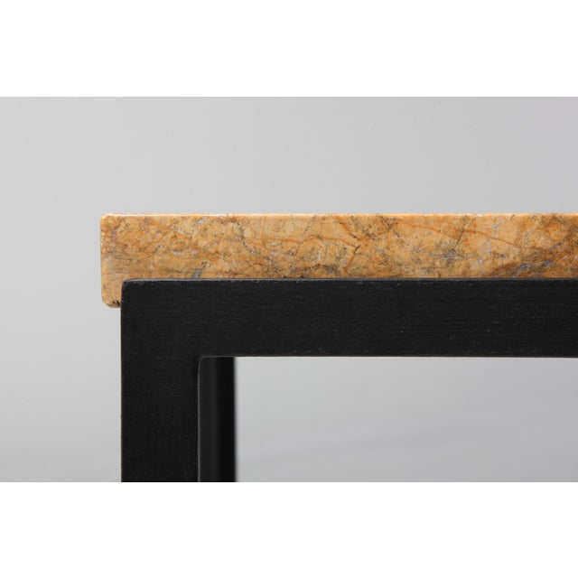 Yellow Florence Knoll Marble & Black Steel Side Tables For Sale - Image 8 of 10