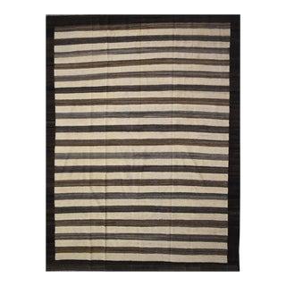 "Striped Afghan Kilim Rug - 8'3"" x 9'11"" For Sale"