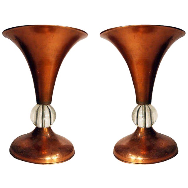 Pair of Copper Mid-Century Half Glass Torchiere Table Lamps For Sale
